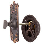 Charleston Hardware Co. - Lorraine Mechanical Doorbell Set, Oil Rubbed Bronze - Sold as a set. 2-1/4in x 4-1/2in turn plate; 3-3/4in bell diameter. The turn piece is mounted on the exterior of the door. A 3in spindle passes through the door into the bell. The bell has a bright crisp ring. Set may also be mounted through the wall with the addition of a longer spindle.