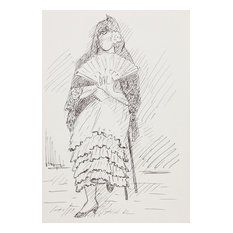 "Laurent Marcel Salinas ""Woman In Shawl 118"" Ink Drawing"