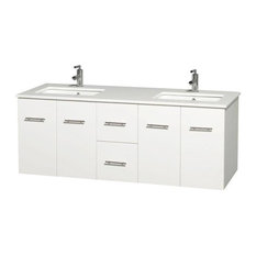 Double Vanity, Matte White, White Man-Made Stone Top, Square Sinks, 60""