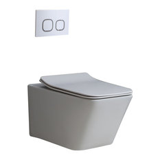 Homary Dual Flush Wall Hung Toilet in White 1.1/1.6 GPF Elongated Toilet Bowl