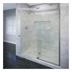 """Cantour Frameless Shower Door, Fits 42.06-48"""", Clear Glass, Brushed Nickel"""