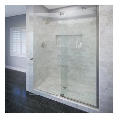 """Basco Shower Enclosures - Cantour Frameless Shower Door, Fits 42.06-48"""", Clear Glass, Brushed Nickel - Shower Doors"""
