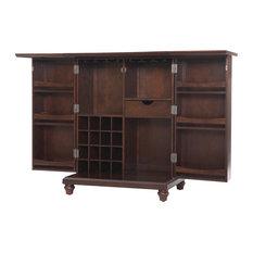 Crosley - Cambridge Expandable Bar Cabinet, Vintage Mahogany Finish - Wine and Bar Cabinets