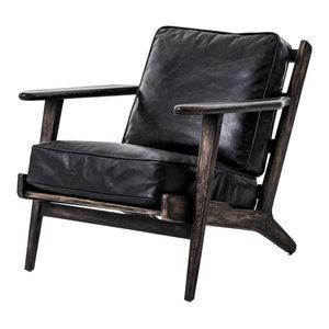 Irondale Brooks Lounge Chair, Black Wash Weathered
