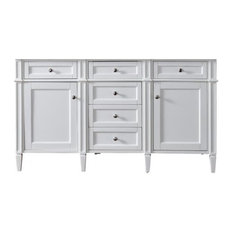 "60"" Brittany Double Cabinet Only Without Top, Cottage White"