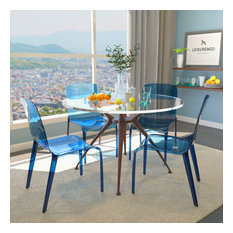 LeisureMod Murray Lucite Stackable Molded Dinin Side Chair, Set of 4, Blue