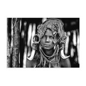 Black & White Indigenous Art 'Mursi Headdress' Ethiopian Woman Photo on Acrylic