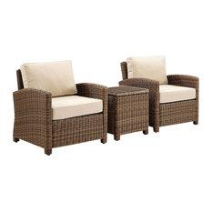 Bradenton 3-Piece Outdoor Wicker Conversation Set With Cushions, Sand