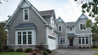 Wood Garage Doors at Pleasant, Glenview Custom Home