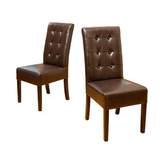 Harrison Tufted Leather Dining Chairs Brown Set Of 2 Oversized Reading Chair