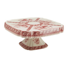 Red and White Cake Plate