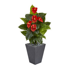4 Ft. Anthurium Artificial Plant in Slate Planter (Real Touch)