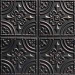 "Decorative Ceiling Tiles - Wrought Iron, Faux Tin Ceiling Tile, Glue up, 24""x24"", #205 - PVC, 24x24, Design Depth is 6 mm = 1/4 in, Tin Look & No Metal Echo!, Easy Glue Up Installation, Cuts With Scissors, Affordable, Will Not Rust, Light Weight"