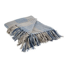 French Blue & Gray Houndstooth Plaid Throw
