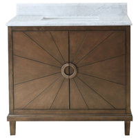 "Legion Furniture Tristan Vanity With Top, Antique Coffee, 37"", White Carrara"
