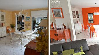 """Rénovation d'une maison moderne en bord de mer - """"Orange Rythmique"""""""