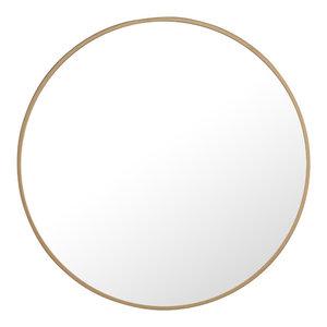 """24"""" Round Metal Frame Mirror, Brass"""