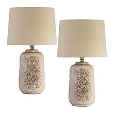 Midcentury Jacquard Table Lamps, Set of 2
