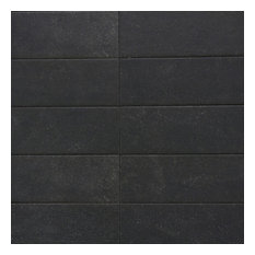 Sanskrit Black 3.89 in x 19.37 in Matte Porcelain Tile (7.85 sqft)