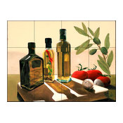Tile Mural, 3 Olive Oils by Johanna Uribes