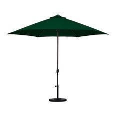 Astella 11' Round Outdoor Patio Umbrella, Autocrank Lift, Polyester, Hunter Gree
