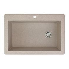 "Radius 22""x33"" Granite Single Drop Kitchen Sink, 1 Faucet Hole, Cafe Latte"
