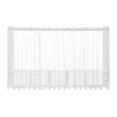"""Valerie White Macrame Kitchen Curtain, 24"""" Tier"""