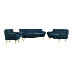 America Luxury - Modern Contemporary Living Room 3-Piece Set, Navy, Fabric, Plywood - Living Room Furniture Sets