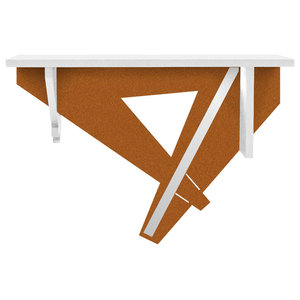 Geometric Wall-Mounted Console Table, White and Copper