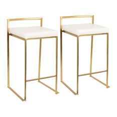 Fuji Counter Stool Set Of 2 Gold White
