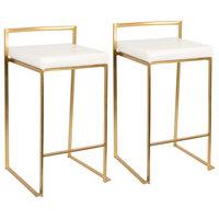 LumiSource Fuji Counter Stool Set of 2, White, Gold Frame
