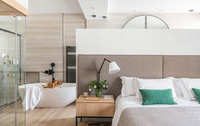 Un dormitorio contemporáneo con sauna donde se respira calma