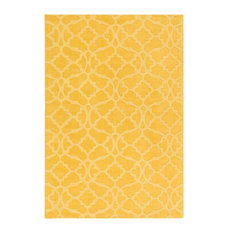 FaveDecor Solid/Striped Plose Yellow Area Rug, 10'x14'