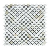 Calacatta Milano Raindrop Mosaic, Honed Mosaic Tiles, 10 Sqft