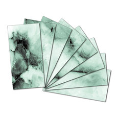 "NewLinkz - 3""x6"" Upscale Designs Custom Beveled Glass Wall Tile, Set of 64 - Tile Murals"