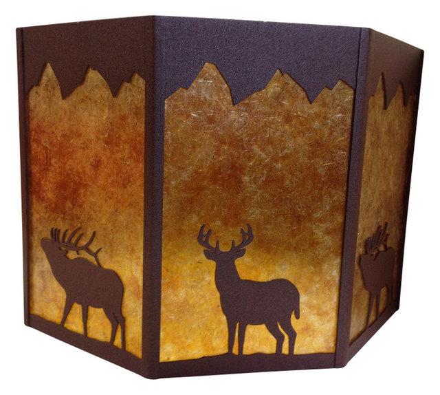 Rustic octagon lamp shade deer elk brown amber mica rustic rustic octagon lamp shade deer elk brown amber mica mozeypictures Gallery