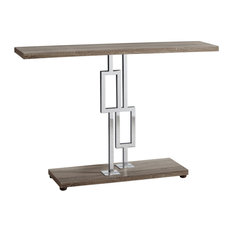 12-inch X 47.25-inch X 31-inch Dark Taupe/Chrome Metal - Accent Table