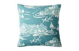 Skylake Toile Outdoor Pillow, Turquoise