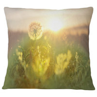 "Dandelion Blooming Flower in Field Floral Throw Pillow, 18""x18"""