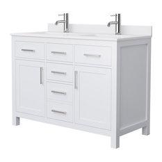 "Beckett 48"" White Double Vanity, White Cultured Marble Top, Nickel Trim"