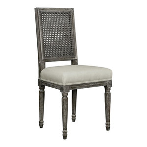 Gamay French Country Oak Caned Linen Dining Chair, Gray