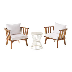 Nancy Outdoor Acacia Wood 2 Seater Club Chairs and Side Table Set