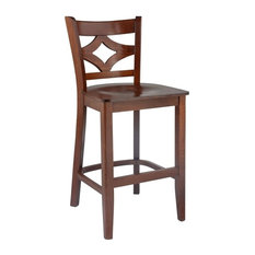 Curtain Back Counter Stool With Wood Seat Medium Oak