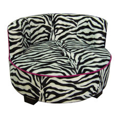 "15.5"" Tall Round Upholstery Dog Bed, Zebra Patterned Design"