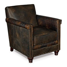 Old Saddle Fudge/Old Saddle Fudge Crocodile Leather Club Chair