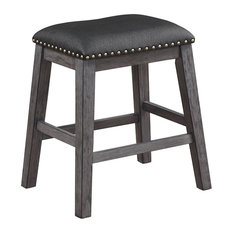 Wood & Leather Counter Height Stool With Nail Head Trim, Set Of 2, Black & Gray