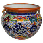 """Fine Crafts & Imports - Small Multicolor Talavera Ceramic Pot - This Talavera pot is a very colorful one. A wide range of patterns are painted on its surface. A unique addition to your garden landscape! The opening is about 7 diameter and the internal height will hold a plastic pot about 7"""" tall.Talavera Ceramic pots have a drilled hole at the bottom; this enable them to be used as a planter. If you plan to use them for this purpose, we recommend to use a smaller plastic planter to put it inside; this will prevent rusting to happen and will give a longer life to the pot.As opposed to the solid background most of out pots have, the brushed finish one shown on this pot gives it a different look and texture. It is handcrafted and hand-painted, which means that no pots are the same! There might be small differences in size, weight and even the paintings. If you want to delight somebody special with an unique handcrafted gift, this is what you are looking for!"""""""