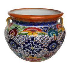 Fine Crafts & Imports - Small Multicolor Talavera Ceramic Pot - Outdoor Pots and Planters