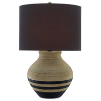 "Higel 31"" Vase Table Lamp, Natural/Black/Satin Black"