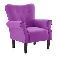 High Wingback Linen Armchair, Purple